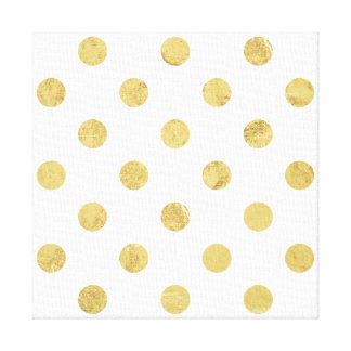 Elegant Gold Foil Polka Dot Pattern - Gold & White Canvas Print