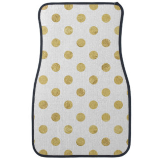 Elegant Gold Foil Polka Dot Pattern - Gold & White Car Mat