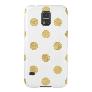 Elegant Gold Foil Polka Dot Pattern - Gold & White Case For Galaxy S5