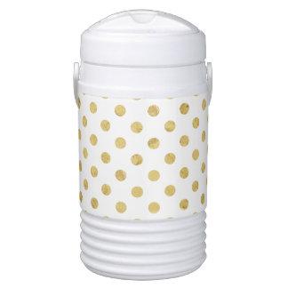 Elegant Gold Foil Polka Dot Pattern - Gold & White Drinks Cooler