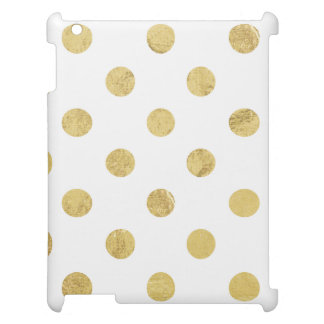 Elegant Gold Foil Polka Dot Pattern - Gold & White iPad Cases