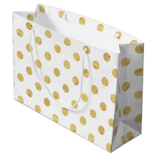 Elegant Gold Foil Polka Dot Pattern - Gold & White Large Gift Bag