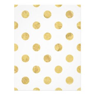 Elegant Gold Foil Polka Dot Pattern - Gold & White Letterhead