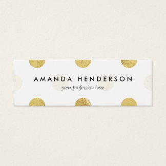 Elegant Gold Foil Polka Dot Pattern - Gold & White Mini Business Card