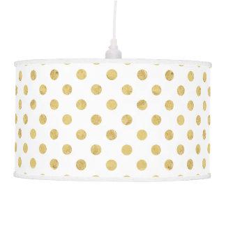 Elegant Gold Foil Polka Dot Pattern - Gold & White Pendant Lamp