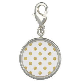 Elegant Gold Foil Polka Dot Pattern - Gold & White Photo Charm
