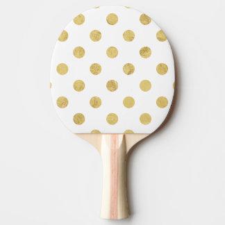 Elegant Gold Foil Polka Dot Pattern - Gold & White Ping Pong Paddle