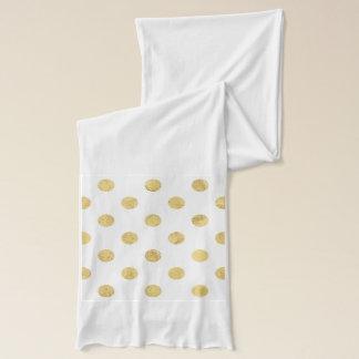 Elegant Gold Foil Polka Dot Pattern - Gold & White Scarf