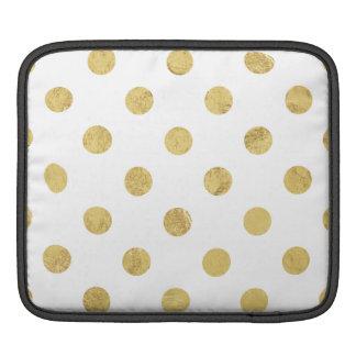 Elegant Gold Foil Polka Dot Pattern - Gold & White Sleeves For iPads