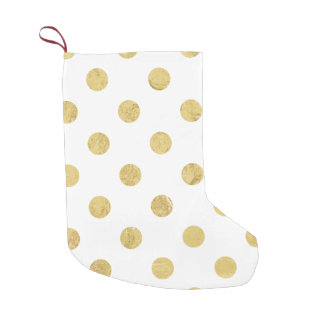 Elegant Gold Foil Polka Dot Pattern - Gold & White Small Christmas Stocking