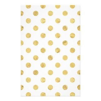 Elegant Gold Foil Polka Dot Pattern - Gold & White Stationery