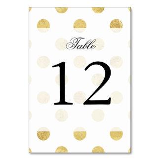Elegant Gold Foil Polka Dot Pattern - Gold & White Table Cards