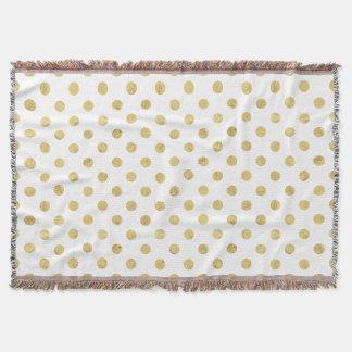 Elegant Gold Foil Polka Dot Pattern - Gold & White Throw Blanket