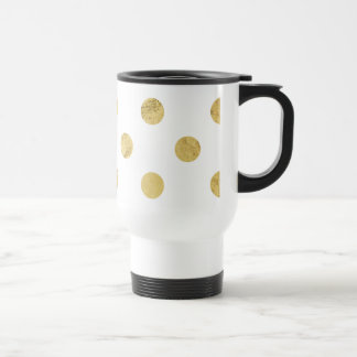 Elegant Gold Foil Polka Dot Pattern - Gold & White Travel Mug