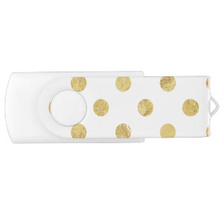 Elegant Gold Foil Polka Dot Pattern - Gold & White USB Flash Drive