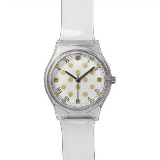 Elegant Gold Foil Polka Dot Pattern - Gold & White Watch