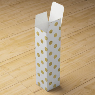 Elegant Gold Foil Polka Dot Pattern - Gold & White Wine Box