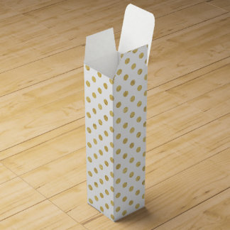 Elegant Gold Foil Polka Dot Pattern - Gold & White Wine Gift Box