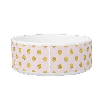 Elegant Gold Foil Polka Dot Pattern - Pink & Gold Bowl