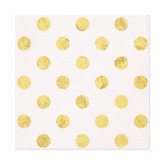 Elegant Gold Foil Polka Dot Pattern - Pink & Gold Canvas Print