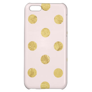 Elegant Gold Foil Polka Dot Pattern - Pink & Gold Case For iPhone 5C