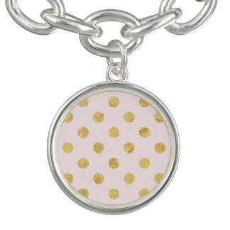 Elegant Gold Foil Polka Dot Pattern - Pink & Gold Charm Bracelet
