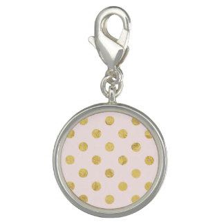 Elegant Gold Foil Polka Dot Pattern - Pink & Gold Charms
