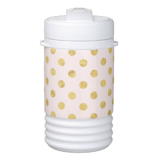 Elegant Gold Foil Polka Dot Pattern - Pink & Gold Drinks Cooler