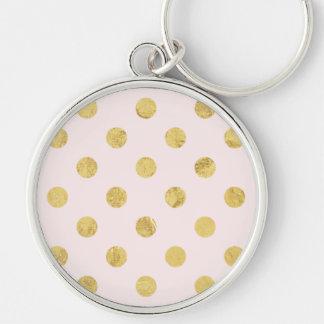 Elegant Gold Foil Polka Dot Pattern - Pink & Gold Keychain