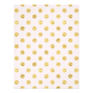 Elegant Gold Foil Polka Dot Pattern - Pink & Gold Letterhead