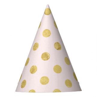 Elegant Gold Foil Polka Dot Pattern - Pink & Gold Party Hat