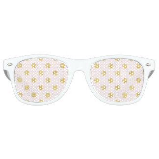Elegant Gold Foil Polka Dot Pattern - Pink & Gold Party Sunglasses