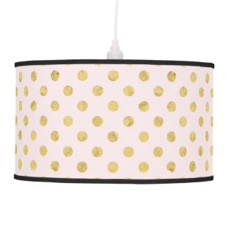 Elegant Gold Foil Polka Dot Pattern - Pink & Gold Pendant Lamp