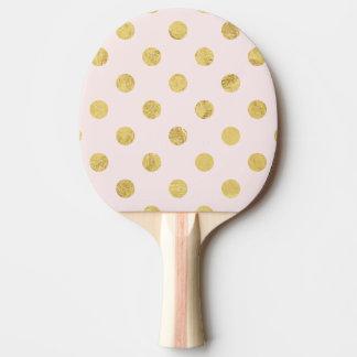 Elegant Gold Foil Polka Dot Pattern - Pink & Gold Ping Pong Paddle