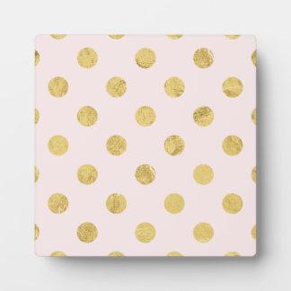 Elegant Gold Foil Polka Dot Pattern - Pink & Gold Plaque