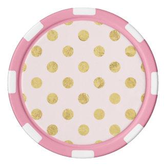 Elegant Gold Foil Polka Dot Pattern - Pink & Gold Poker Chips
