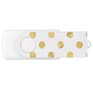 Elegant Gold Foil Polka Dot Pattern - Pink & Gold USB Flash Drive