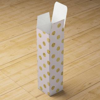 Elegant Gold Foil Polka Dot Pattern - Pink & Gold Wine Gift Box