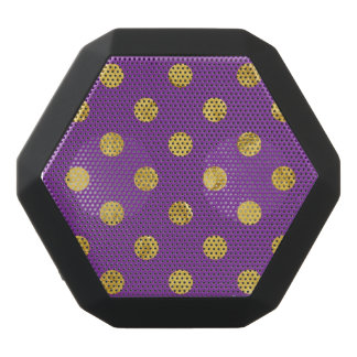 Elegant Gold Foil Polka Dot Pattern - Purple Black Bluetooth Speaker