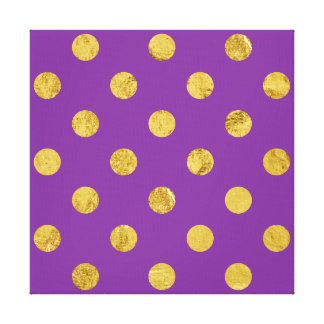 Elegant Gold Foil Polka Dot Pattern - Purple Canvas Print
