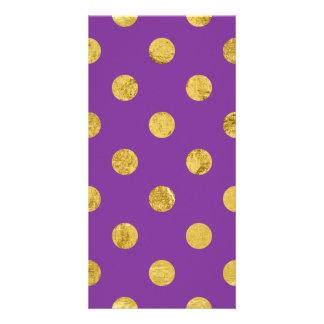 Elegant Gold Foil Polka Dot Pattern - Purple Custom Photo Card