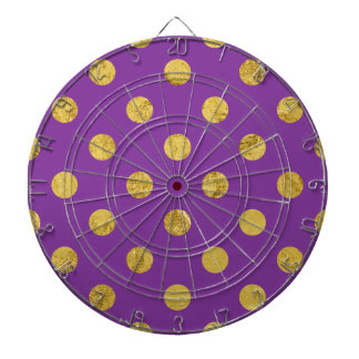 Elegant Gold Foil Polka Dot Pattern - Purple Dartboard