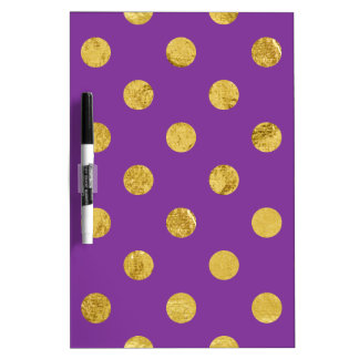 Elegant Gold Foil Polka Dot Pattern - Purple Dry Erase Board