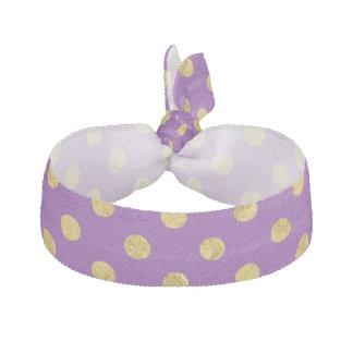 Elegant Gold Foil Polka Dot Pattern - Purple Hair Tie