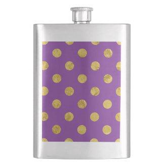 Elegant Gold Foil Polka Dot Pattern - Purple Hip Flask