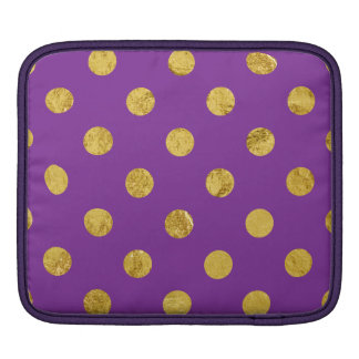 Elegant Gold Foil Polka Dot Pattern - Purple iPad Sleeve
