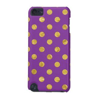 Elegant Gold Foil Polka Dot Pattern - Purple iPod Touch 5G Covers