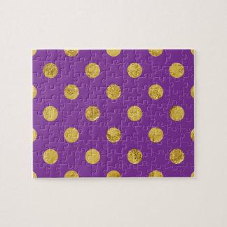 Elegant Gold Foil Polka Dot Pattern - Purple Jigsaw Puzzle
