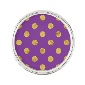 Elegant Gold Foil Polka Dot Pattern - Purple Lapel Pin