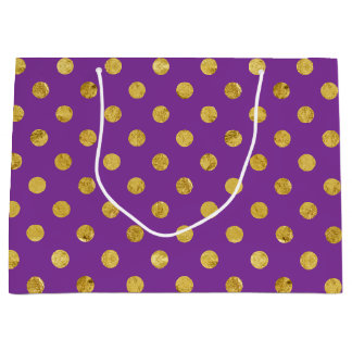 Elegant Gold Foil Polka Dot Pattern - Purple Large Gift Bag